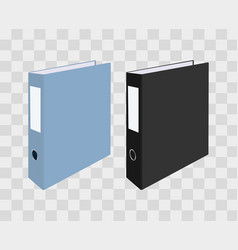 Blank closed office binders on transparent vector