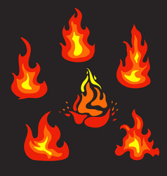 Set of flat fire icons vector