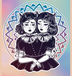 Evil siamese twins female demon portriats vector