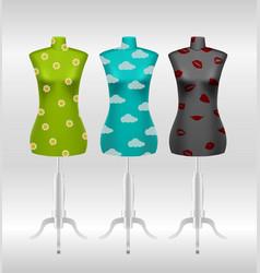 Set of female tailors dummy mannequins vector
