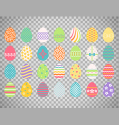 Colored easter eggs on transparent background vector