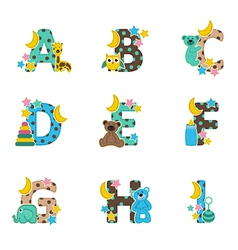 Alphabet baby from a to i vector