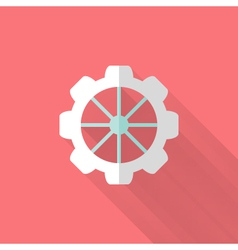 Flat gear wheel icons over pink vector
