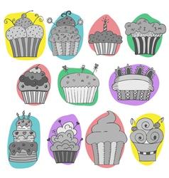 set of hand drawn cupcakes vector image