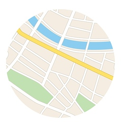 Round map with river - streets and parks vector
