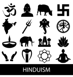 Hinduism religions symbols set of icons eps10 vector