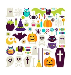 Flat style set of halloween holidays objects vector
