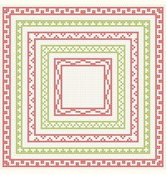 Cross-stitch embroidery - set of borders vector