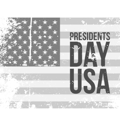 Presidents day usa text on grunge flag vector