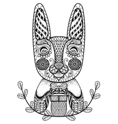 Hand drawn easter rabbit with gift in doodle vector
