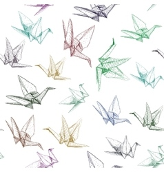 Japanese origami paper cranes symbol of happiness vector