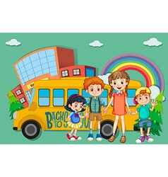 Children and school bus vector image