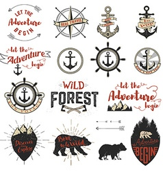 Set of the adventure labels emblems and design vector