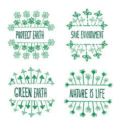 nature ecology labels set vector image