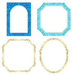 set - blue and golden frames with plants vector image