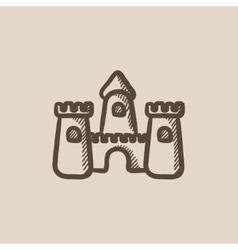 Sandcastle sketch icon vector