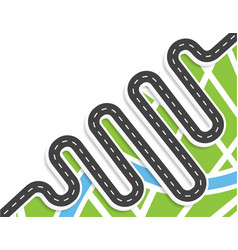 A winding road with markings top view with shadow vector