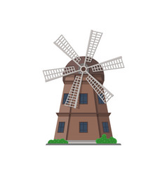 ancient wooden windmill building isolated icon vector image vector image