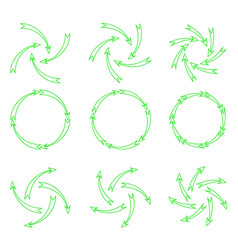 Arrows outline green vector