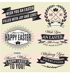 Black and white set of Easter labels vector image vector image