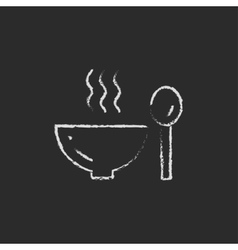 Bowl of hot soup with spoon icon drawn in chalk vector image