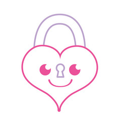Color line smile heart padlock kawaii personage vector