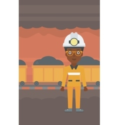 Confident miner in hardhat vector