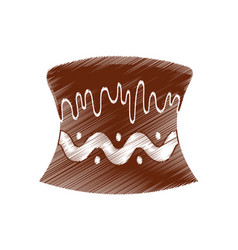 drawing cake chocolate baked vector image vector image