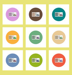Flat icons set of column chart on notebook concept vector