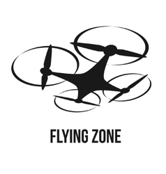 Flying quadcopter drone logo vector