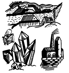 Fragments of landscapes vector