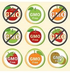 Gmo free non gmo guarantee tag label emblem vector