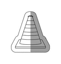 Gray silhouette dotted sticker traffic cone vector