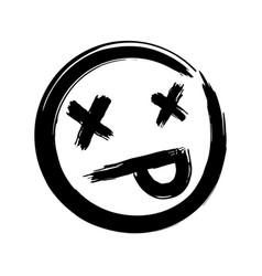 hand drawn dead emoji vector image