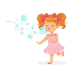 happy redhead girl in pink dress blowing bubbles vector image vector image