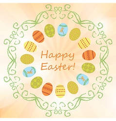 light orange background with easter eggs - easter vector image