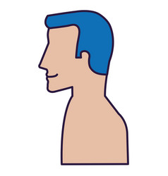 Man profile shirtless avatar character vector