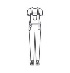 Monochrome silhouette of female uniform of worker vector