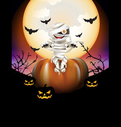 Mummy and pumpkins vector