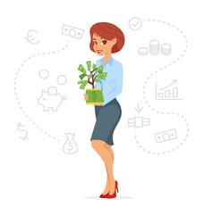 Pretty businesswoman holding money tree vector