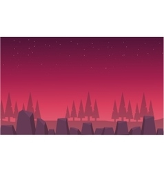 Red skyline landscape spruce and rock vector