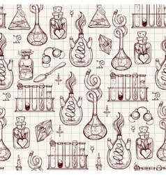 Seamless pattern of alchemy vintage lab symbols vector