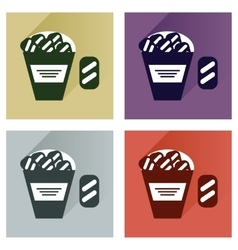 Set flat icons with long shadow snack vector