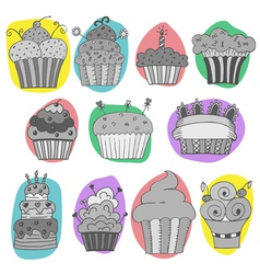 set of hand drawn cupcakes vector image vector image