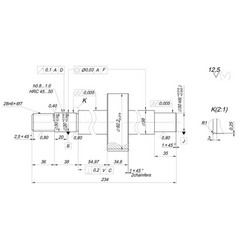Shaft sketch with chamfers engineering drawing vector