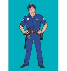 Smug policeman stands upright blue uniform vector