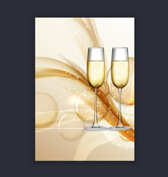 Two glass of champagne on glossy background vector