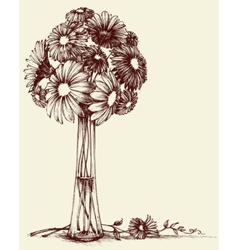 Vase of flowers wedding bouquet sketch retro style vector image