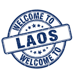 Welcome to laos blue round vintage stamp vector