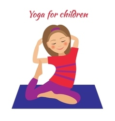 Yoga for kids children activities girl doing vector